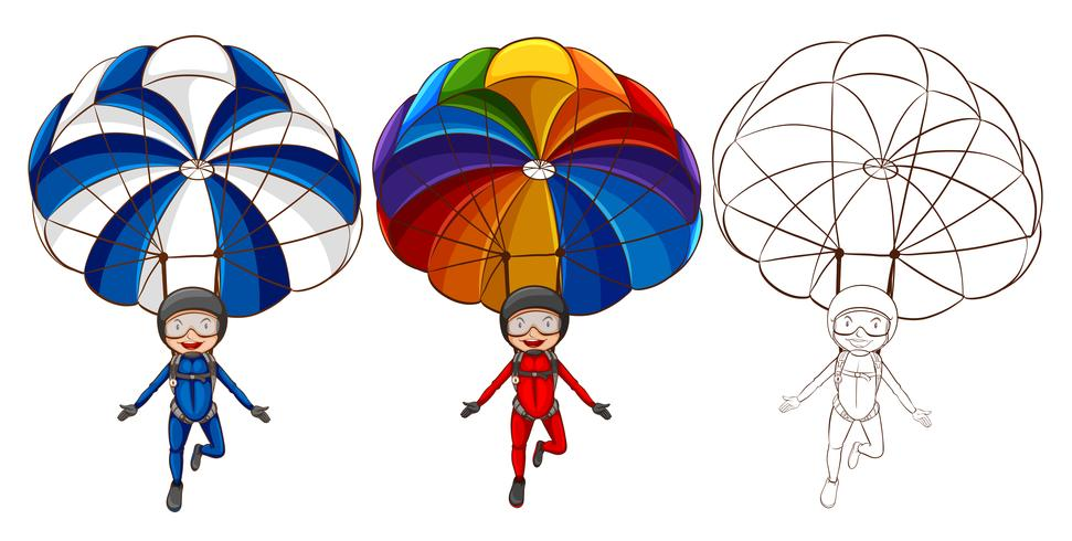 971x490 Three Drawing Styles Of Man Parachute