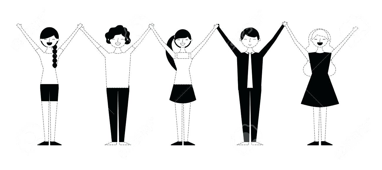 1300x578 Drawing Of People Holding Hands Group Of People Holding Hands
