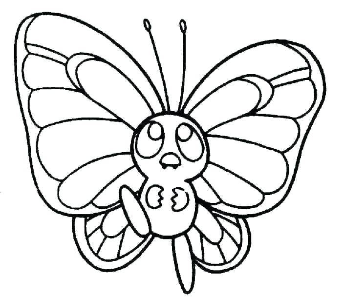 704x611 Drawing Of Butterfly For Kids