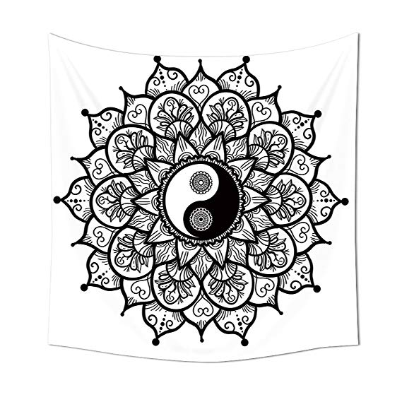 569x569 ying yang decor tapestry wall hanging retro floral yin yang design