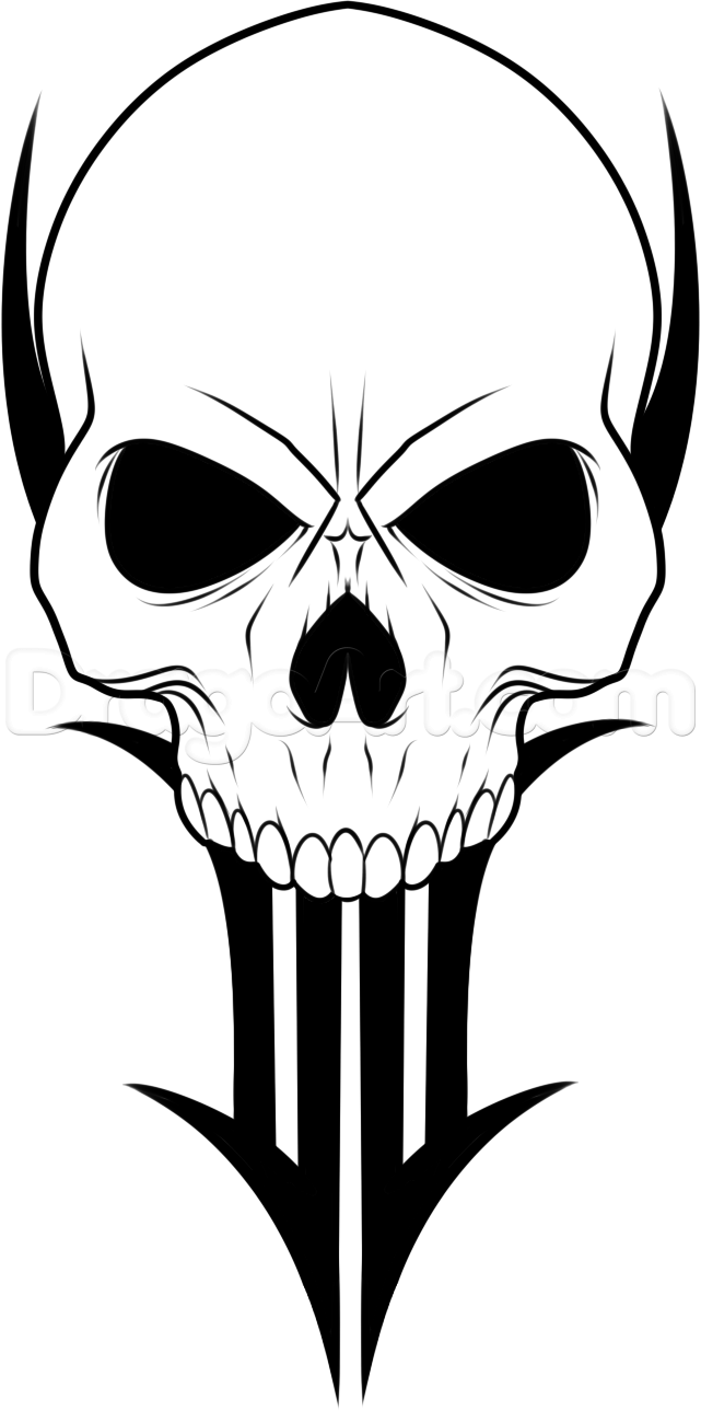 641x1289 How To Draw A Traditional Skull Tattoo, Step