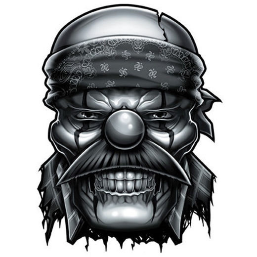 520x520 Negro Y Gris Temporary Tattoo Evil Og Clown Gangster Made In Usa