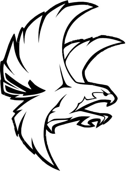 444x599 Falcon Bw Clip Art