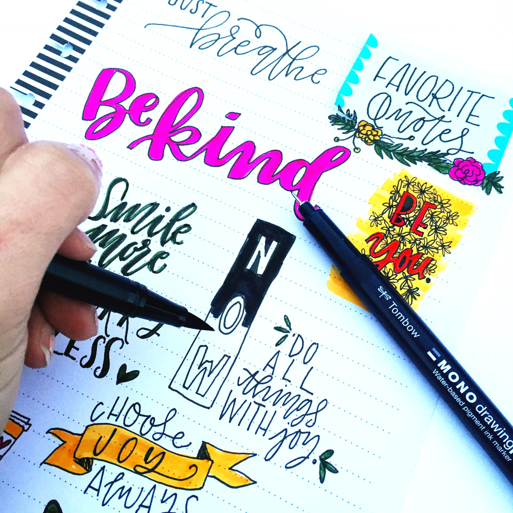 1774x1774 Lettering Quotes With The Tombow Mono Drawing Pen