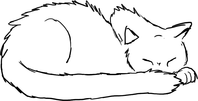832x425 Sleeping Cat Drawing