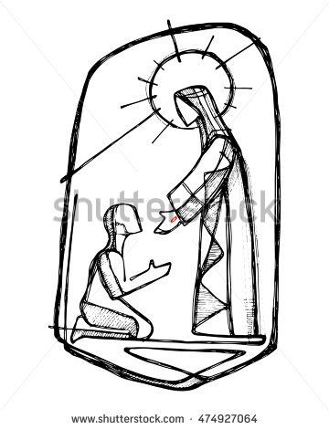 360x470 Hand Drawn Vector Illustration Or Drawing Of Jesus Christ Healing