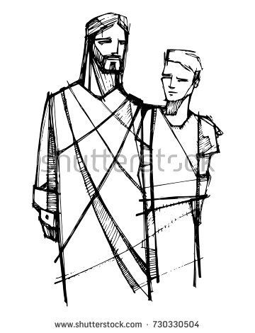 360x470 Hand Drawn Vector Illustration Or Drawing Of Jesus Christ Walking