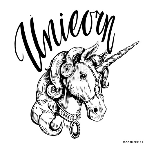 500x500 Sketch Of Unicorn Hand Drawn Illustration Converted To Vector