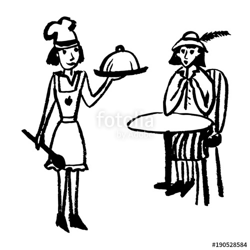 500x500 Drawing Of A Chef In A Cap Giving Food To A Girl Client, Sketch