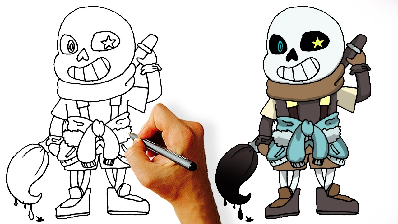 1280x720 How To Draw Ink Sans Step