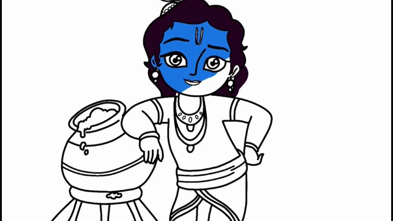 1280x720 Drawings For Kids How To Draw Little Krishna