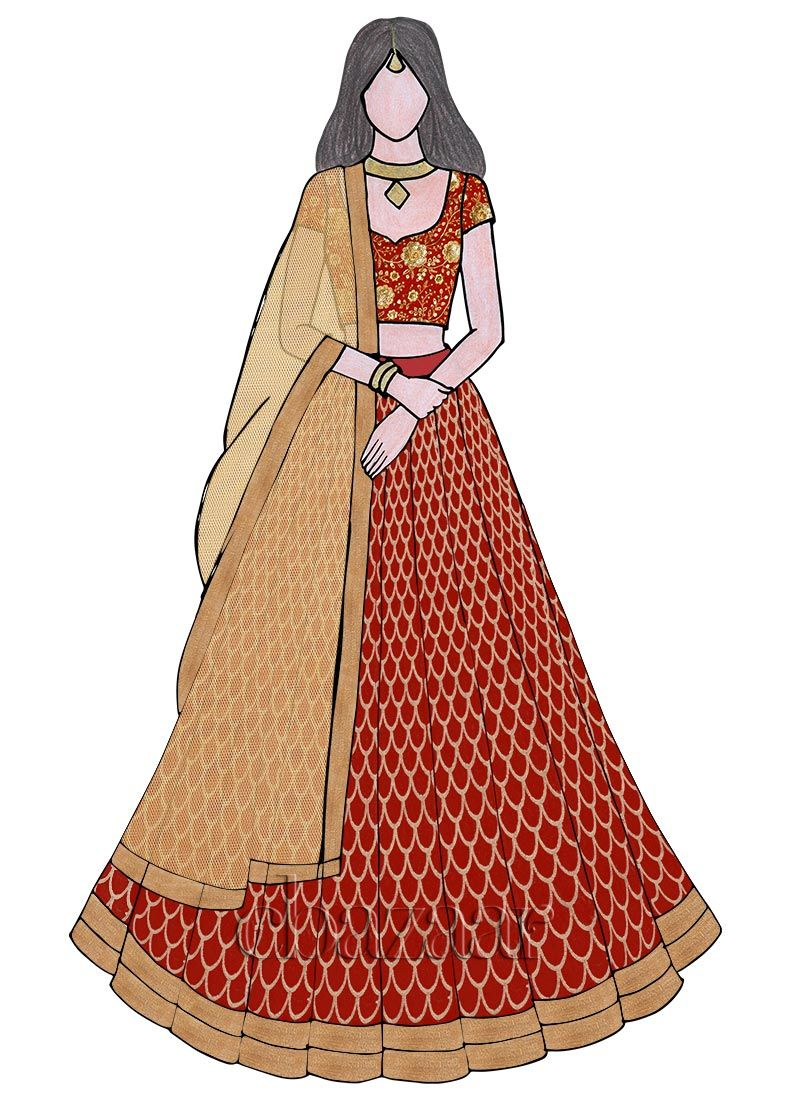 800x1100 Red Zari Embroidered Kali Lehenga Set Painting The Canvas