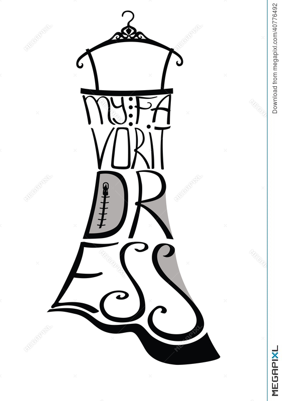 563x800 Typography Dress Design Silhouette Of Woman Dress From Words
