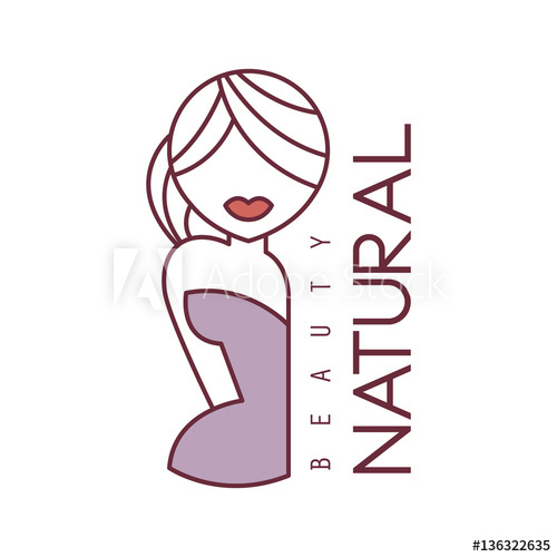 500x500 Natural Beauty Salon Hand Drawn Cartoon Outlined Sign Design