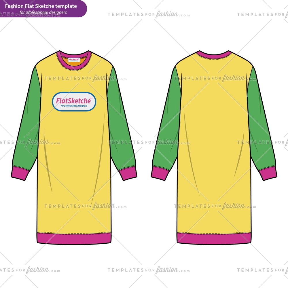 1000x1000 Sweatshirts Dress Fashion Flat Technical Drawing Template