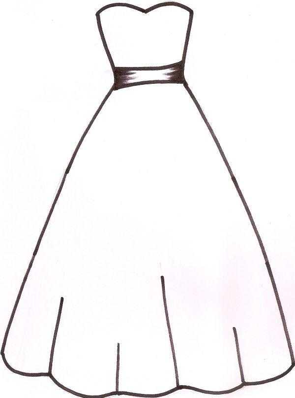 600x808 wedding dress template paper dresses dress card, wedding dress