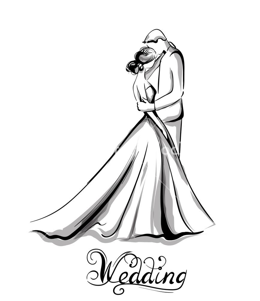 867x1000 Wedding Couple Silhouette Vector Line Art Beautiful Bride