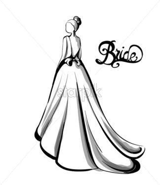 324x374 Wedding Couple Silhouette Vector Line Art Beautiful Brides, Long