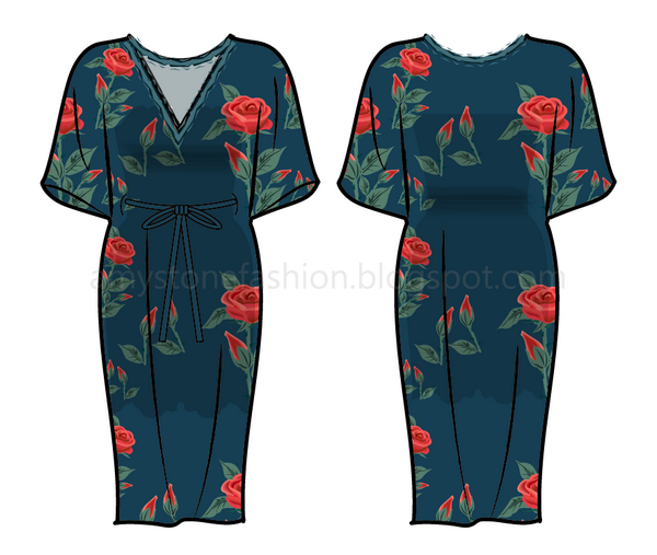 600x507 amy stone fashion flat sketches floral print dress flat drawing