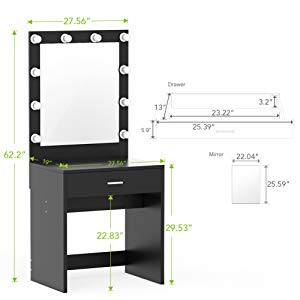 300x300 Tribesigns Vanity Set With Lighted Mirror, Makeup
