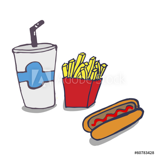 500x500 Vector Handmade Drawing Cool Drink, Fries And A Hot Dog
