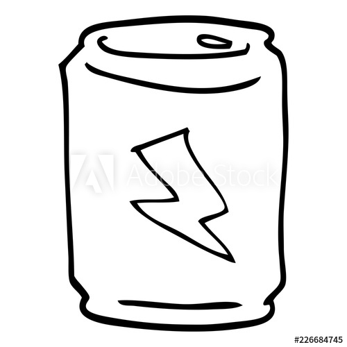 500x500 Line Drawing Cartoon Of A Can Of Energy Drink