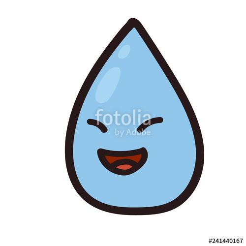 500x500 vector illustration of a happy water color drop rain drop drawing