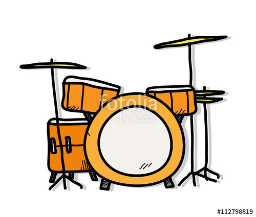 500x425 drum kit, a hand drawn vector illustration of a drum set stock