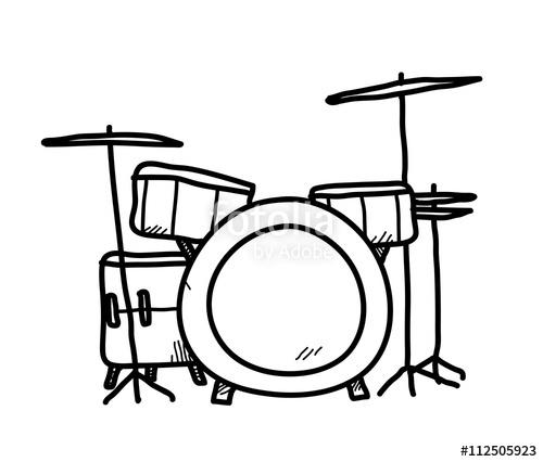 500x426 drum set doodle, a hand drawn vector doodle illustration of a drum