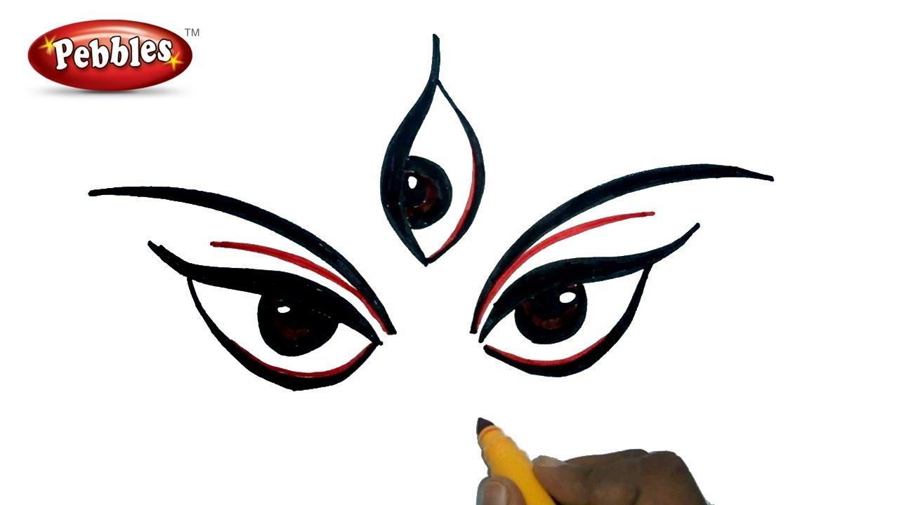 1280x720 Durga Puja Drawing For Kids How To Draw Durga Maa Navratri