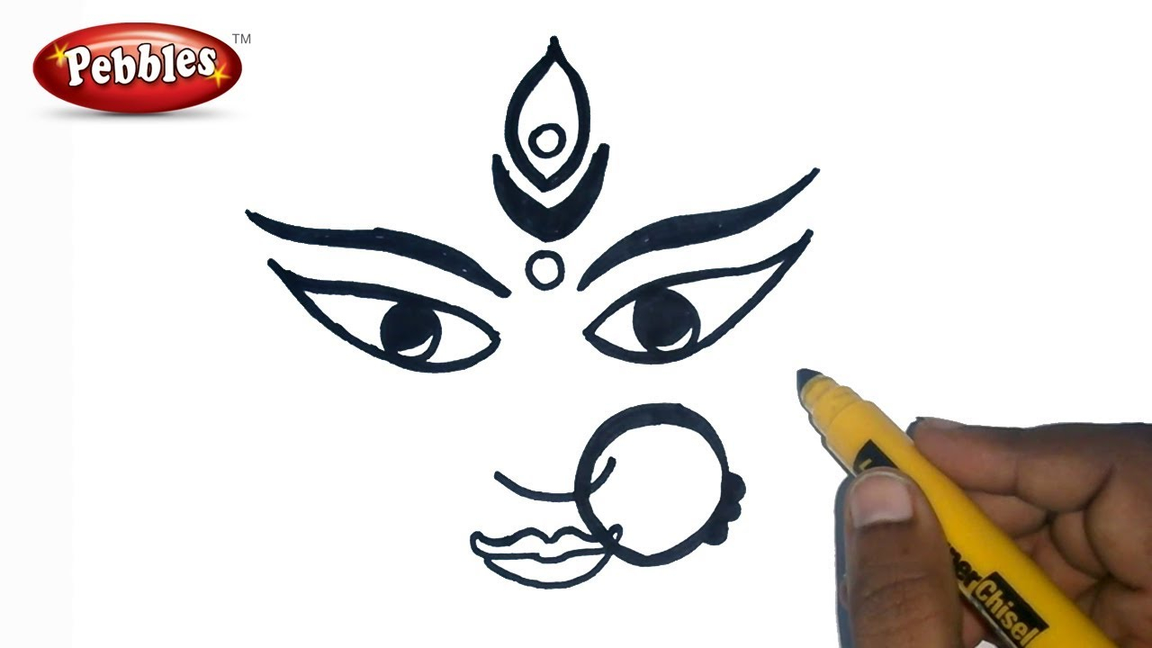 1280x720 Easy Drawing For Navratri How To Draw Durga Maa Durga Puja