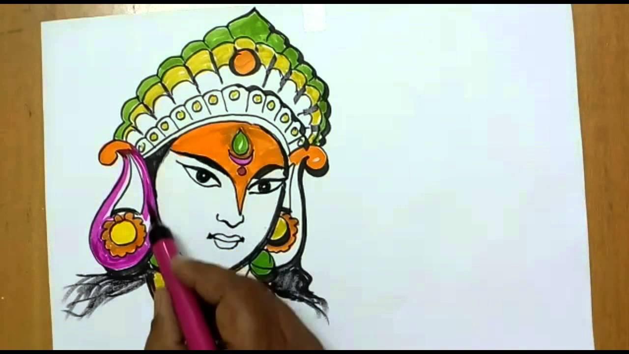 1280x720 Drawing Of Durga Mata Navratri Special Drawing Of Durgamata