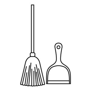 300x300 broom and dustpan icon outline illustration of broom and dustpan