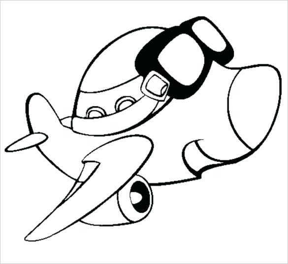 585x535 Aeroplane Picture For Colouring Airplane With Glasses Coloring
