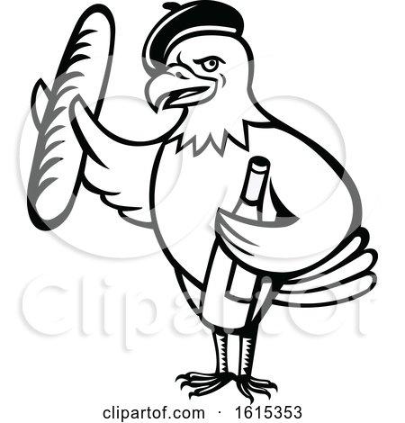 450x470 Clipart Of A Cartoon Black And White American Bald Eagle Mascot