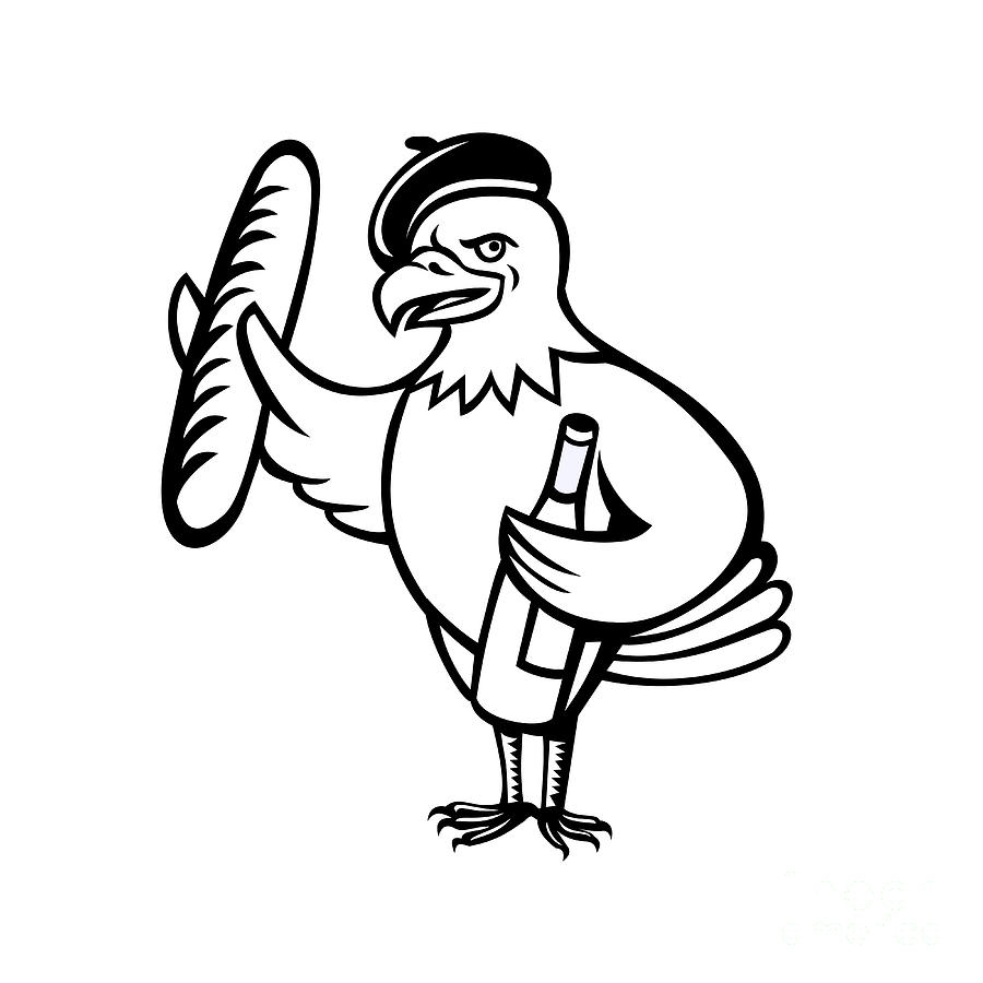 900x900 American Eagle Beret Baguette Wine Cartoon Digital Art