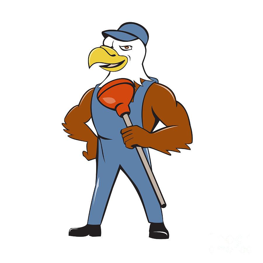 900x900 Bald Eagle Plumber Plunger Isolated Cartoon Digital Art