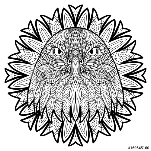 500x500 Animal Concept Line Design The Head Of A Eagle Monochrome Ink
