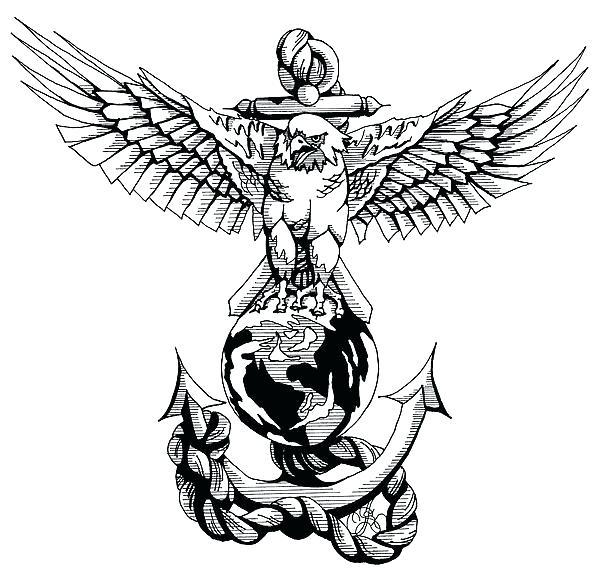 Eagle Globe And Anchor Drawing