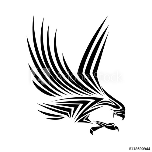 500x500 Eagle Tattoo Animal Draw Abstract Icon Flat And Isolated Design