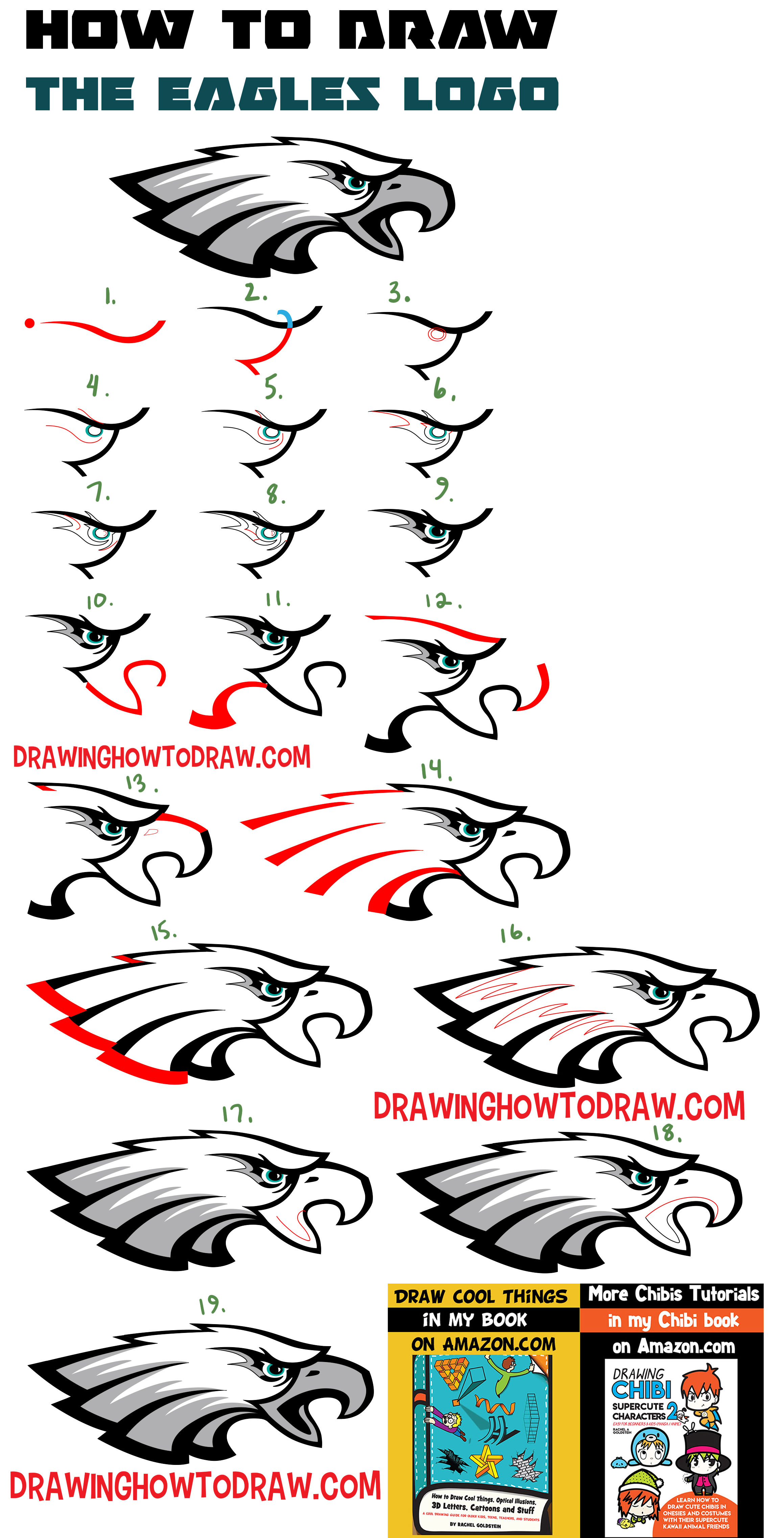 2319x4545 How To Draw The Eagle's Logo With Easy Step