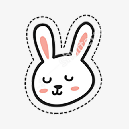 450x450 red line drawing rabbit ears, rabbit clipart, line clipart, rabbit