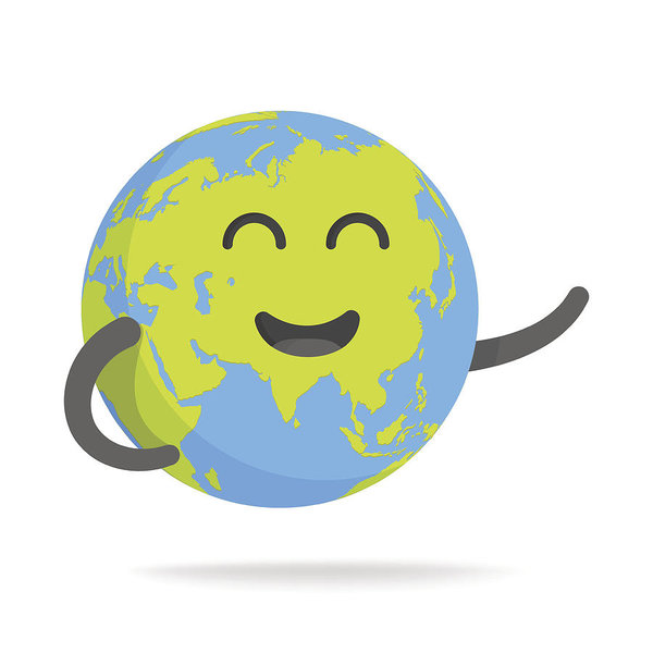 600x600 Cute Cartoon Earth Character World Map Globe With Smiley Face