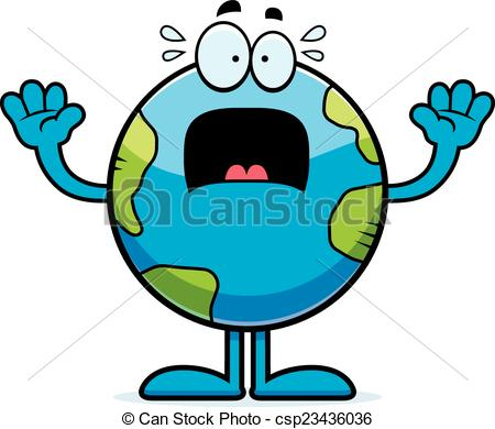 450x390 scared cartoon earth a cartoon illustration of the planet earth