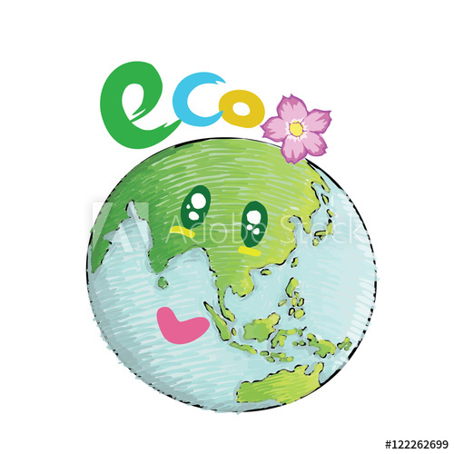 500x500 Earth With Smiling Face Nature Concept Eco Design For Earth Day