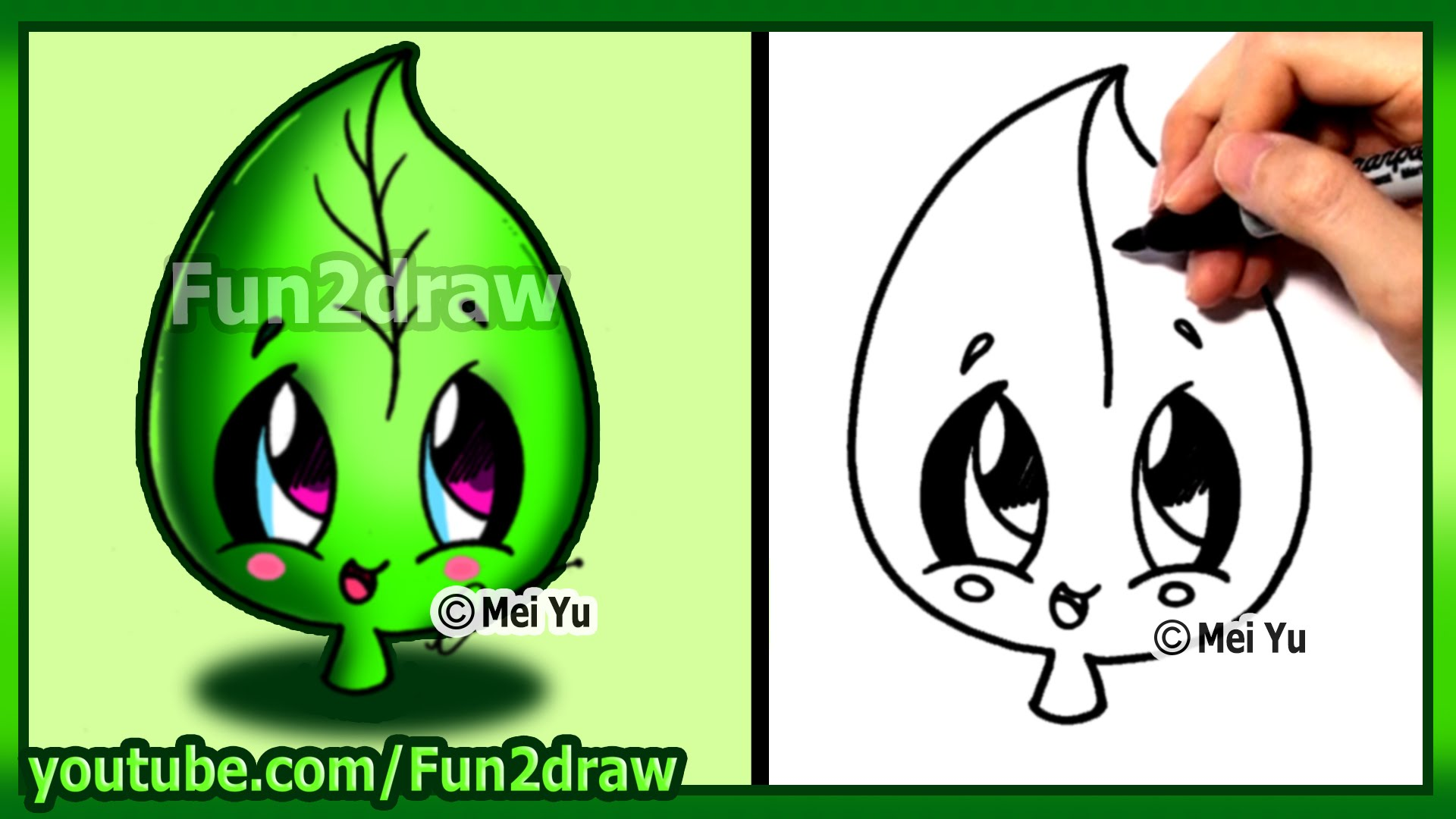 1920x1080 How To Draw Cute Easy Leaf Earth Day Kids Youtube
