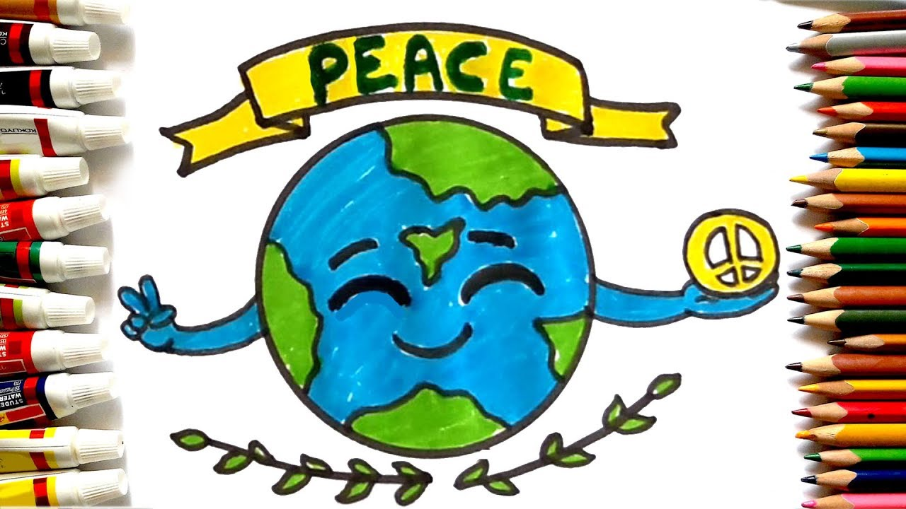 1280x720 How To Draw Peace Day Poster Cute Earth Drawing