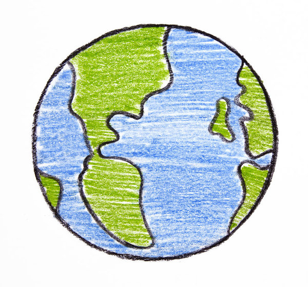 600x559 Child's Drawing Of Earth On White Background Art Print
