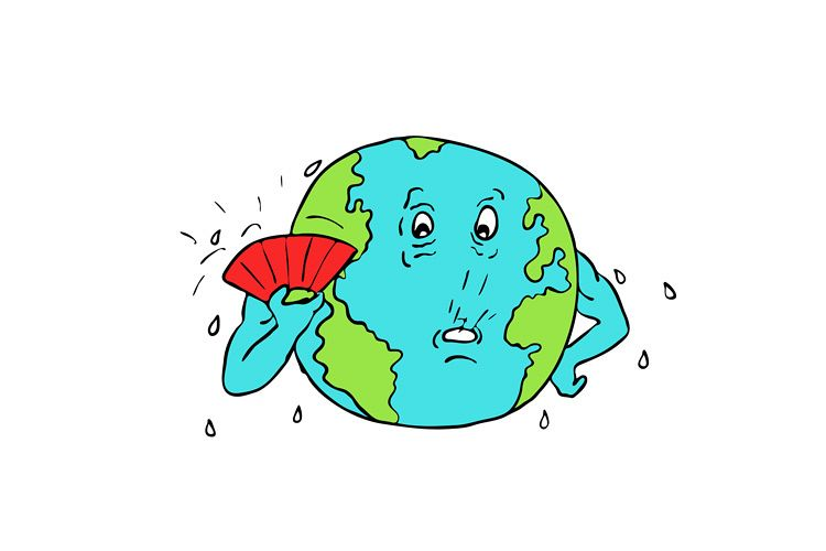 750x500 Earth Global Warming Drawing Color