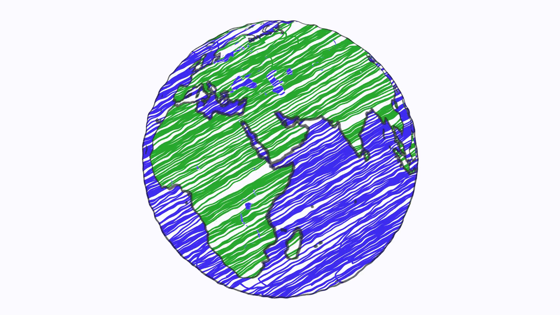 1920x1080 Earth Drawing Paper Cartoon Hand Drawn Animation Spinning Globe